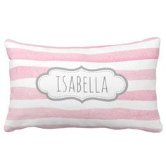 Personalized Girly Pink Stripes Monogram