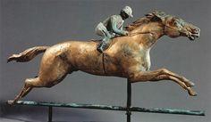 Running horse with jockey weathervane, J. W. Fiske Ironworks, New York, New York, circa 1890