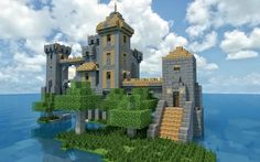 Isolated Minecraft Castle and Keep. Getting home and building this! Minecraft Seeds Xbox One, Château Minecraft, Construction Minecraft, Minecraft Welten, Amazing Minecraft, Minecraft Survival, Minecraft Water House, Minecraft Small Castle, Minecraft Crafts