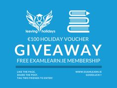GIVEAWAY: (6th year special)  100 6th year summer holiday voucher from Leaving Cert Holidays by Click&Go. Choose from Magaluf Kavos Santa Ponsa or Salou!    A free FULL membership to ExamLearn.ie! Get access to free Leaving Cert subject notes exam answers expert study advice and our exam paper viewer for an entire year on the best study resource out there.   TO ENTER: 1 Share the post. 2 Tag two friends. 3 Like ExamLearn and Leaving Cert Holidays by Click&Go   GOOD LUCK!   #examlearning…