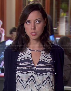 April's blue and white printed faux-wrap dress #ParksandRecreation