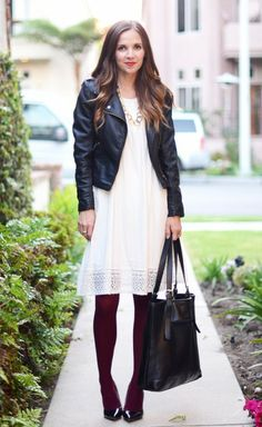 5 White Clothing Pieces You Can Wear All Year Long - Black leather and burgundy tights make this white dress a perfect winter white.