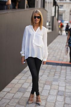 simple ensemble - blouse, dressed up skinny jeans and pointy-toe pumps