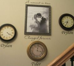 Wall Decor with Time Line - stop a clock and put it on the wall on the time your children were born!