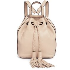 Rebecca Minkoff 'Isobel' small tassel drawstring leather backpack (5.650 UYU) ❤ liked on Polyvore featuring bags, backpacks, backpack, mochila, purses, neutral, multi pocket backpack, rebecca minkoff backpack, bucket backpack and leather bucket bags