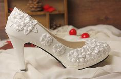 Lace Wedding Shoes Pearl White Lace Daisy Bridal by custombill