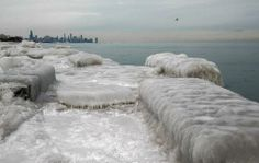 A view from Promontory Point in Hyde Park during extremely cold weather in Chicago