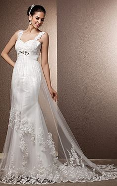 Sheath/Column Straps Court Train Tulle Wedding Dress