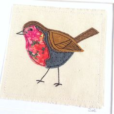 Robin greeting card personalised stitched fabric by DottyOnline Bird Applique, Applique Patterns, Embroidery Applique, Fabric Cards, Fabric Postcards, Free Motion Embroidery, Free Machine Embroidery, Fundraising Crafts, Textiles