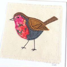 Robin greeting card, personalised machine embroidered stitched fabric applique. British bird Unframed art. Nature wildlife birthday blank