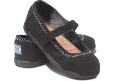 Tiny TOMS Black Wool Mary Janes available at Red E Surf!