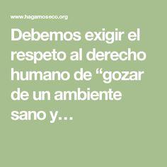 """Debemos exigir el respeto al derecho humano de """"gozar de un ambiente sano y…"""