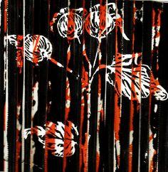 Block-print, lino cut print on coloured, pleated fabric