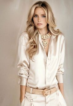 Love the smooth silky blouse...and that necklace it is just perfect! Just careful with your skin tone... Blush