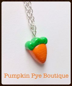 Carrot Polymer Clay Necklace by PumpkinPyeBoutique on Etsy, $15.00