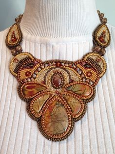 Necklace with set of 5 Red Creek Jasper stones in the center