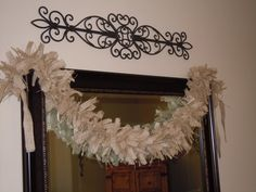 Burlap rag garland in natural tan is rustic chic shabby glam! Hang it over a mirror, a frame, a photo collage, over a window or valance, above a doorway, on the wall, hang across a table for a lovely decor element for entertaining, a party.... use in kitchen, dining room, entryway, bedroom....