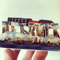 Three postcards from Detroit, carved up by REED TURCHI, master papercutter