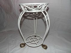 Awesome Vintage White Painted Wrought Iron Plant Stand   eBay