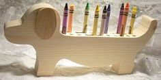 Dachshund Crayon Holder, Wood, Unpainted for DIY Projects, Hand Made Wood Crafts by Carolina Country Crafts on Etsy, $10.00