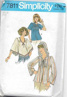 MOMSPatterns Vintage Sewing Patterns - Simplicity 7811 Vintage Sewing Pattern SUPER GROOVY Hippie Boho Angel or Bell Sleeve Flared Dashiki Style Smock Top, Handkerchief Hem, Hood---had this pattern! Hood Pattern, Retro Pattern, Vintage Dress Patterns, Clothing Patterns, Shirt Patterns, Burda Patterns, Clothing Ideas, Mode Vintage, Vintage 70s