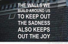 The walls we build around us to keep out the sadness also keep out the joy.... sigh
