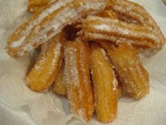 Sweet little Churros. 250 g water Pinch Salt 100 g butter 150 g Bakers flour 4 – 5 eggs