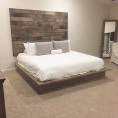 Platform Bed Base, Reclaimed Wood Bed Frame, Headboard Art, Beach Headboard, Diy Bed Frame, Bed Frames, Home Decor Bedroom, Bedding Decor, Boho Bedding
