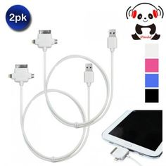 iPanda(R) 3-in-1 Sync and Rapid Charge Cable - 4 Colors