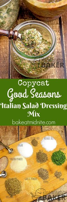 copycat of Good Seasons Italian dressing mix that's inexpensive to make. You won't buy it again!A copycat of Good Seasons Italian dressing mix that's inexpensive to make. You won't buy it again! Homemade Spices, Homemade Seasonings, Homemade Italian Seasoning, Homemade Spice Blends, Italian Seasoning Mixes, Salad Dressing Recipes, Salad Recipes, Salad Dressings, Avocado Recipes