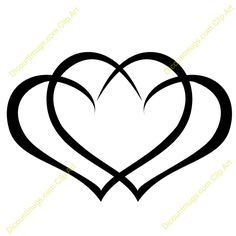 Clipart 12059 Interlocking hearts - Interlocking hearts mugs, t-shirts, picture mouse pads. Star TattoosCute TattoosThree ...