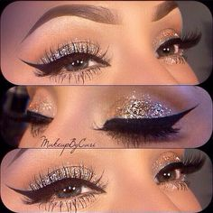 Flawless Eye Makeup Silver Glitter Sparkle Eyeshadow False Eyelashes Mascara Winged Cat Eyeliner Dope
