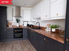 Black Kitchen Cabinets, Upper Cabinets, Black Kitchens, Kitchen Redo, New Kitchen, Home Kitchens, Kitchen Remodel, Base Cabinets, Kitchen Black