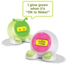 OK to Wake! Alarm clock designed to help kids stay in bed longer. Clock glows green at the time you set so kids can know when it's alright to get out of bed.