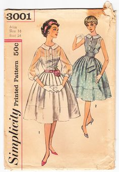 Vintage 1959 Simplicity 3001 UNCUT Sewing by SewUniqueClassique, $15.00