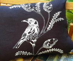 Bird cushion cover Linen bird with banksia black & white Black And White Design, Black White, Cute Australian Animals, Natalie Green, Kangaroo Paw, Black Linen, Screen Printing, Moose Art, Cushions