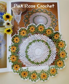 Pink Rose Crochet: Sunflowers by Doilies in Bloom