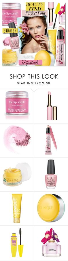 """""""The Perfect Pout: Summer Lipsticks"""" by mada-malureanu ❤ liked on Polyvore featuring beauty, Sara Happ, Clarins, NARS Cosmetics, Sephora Collection, Nuxe, OPI, Clinique, Maybelline and Marc Jacobs"""