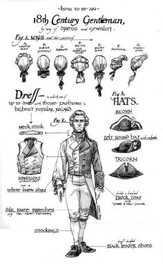 The clothing of a Century gentleman - historical male clothes - Drawing Reference