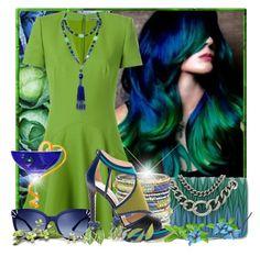 """Blue & Green"" by doozer ❤ liked on Polyvore featuring Alexander McQueen, Miu Miu, Chamak by Priya Kakkar, Tory Burch, Jimmy Choo and Marina J."