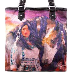 Montana West~Native Woman~Horse Art~Travel~Canvas~Zip Top~Shop Tote Bag~Purse #Unbranded