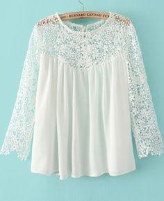 2014 brand white lace blouse for women long sleeve chiffon blouse crochet blouses shirts tops women's clothing Chiffon Shirt, Lace Chiffon, Chiffon Fabric, White Chiffon, Chiffon Tops, Mode Outfits, Mode Inspiration, Blouses For Women, Ideias Fashion