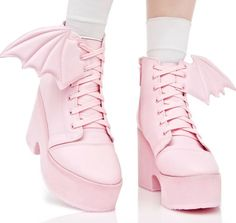 strawberry gashes all over — coquettefashion: Bubblegum Pink Bat Wing Boots . Pastel Goth Fashion, Kawaii Fashion, Lolita Fashion, Cute Fashion, Fashion Shoes, Fashion Outfits, Pastel Goth Shoes, Pastel Goth Clothes, Pastel Goth Hair