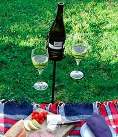 wine bottle and glass holder for lawn - Google Search
