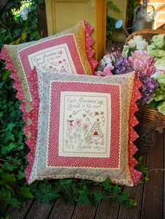 """Friendship Grows"" by Sally Giblin of The Rivendale Collection. Verse reads: Each friendship grows in it's own special way... Finished cushion size: 18"" x 19"" #TheRivendaleCollection stitchery, appliqué and patchwork patterns. www.therivendalecollection.com.au"