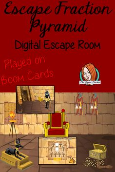 Fraction Practice Escape Room Children can practice fraction  facts with this fun digital escape room. Children will need to explore the  fraction pyramid answer questions and collect information to solve the puzzles  and eventually escape the pyramid. No printing required This  game uses Boom Cards and you will need a Boom card account to play it which is  free Breakout Game, Teacher Resources, Classroom Resources, Improper Fractions, Fraction Games, Teaching Strategies, Escape Room, Activity Games, Fun Math