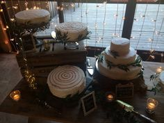 Italian ruscus, assorted cakes, rustic, fairy lights