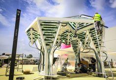 Futuristic Urban Algae Folly grows food, fuel and shade