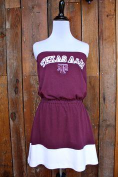 Texas A Aggies Strapless Game Day Dress Size by jillbenimble, $34.00