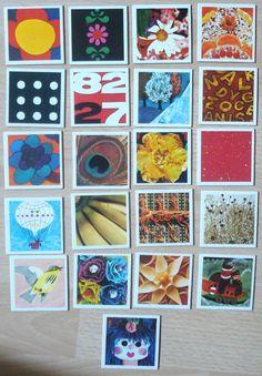 Vintage memory kaarten, 1974, karton, hobbymateriaal, 21 stuks, 5,5 x 5,5 cm  [e] by LabelsAndMore on Etsy